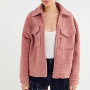 Urban outfitters teddy zip front trucker jacket pink size Medium